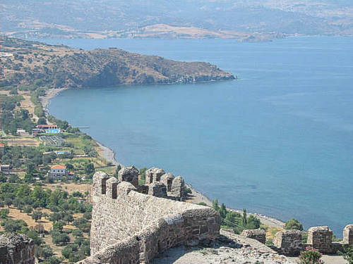 Views of Molivos Bay from its Byzantine Castle.
